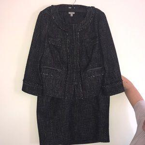Halogen Black Wool Tweed Suit, Size M